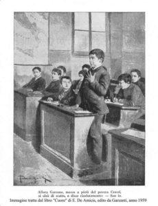"""Immagine dal libro """"Cuore"""" E. De Amicis 1959"""